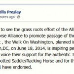 "PRISCILLA PRESLEY IS THRILLED WITH ""WALK ON WASHINGTON"" SET FOR JUNE 18, 2014 – SUPPORT FROM ALL OVER THE WORLD IS POURING IN –  ELVIS'S SPIRIT WILL BE WITH THE AMERICANS FIGHTING TO PROTECT THE HORSES"