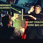 """IRIS SCANS"" AND ""THERMOGRAPHY"" HAVE SORE BIG LICK IN AN UPROAR –  WASHINGTON DC ATTORNEY RUSS GASPAR HOLDS UP THE ""SILVER CROSS"" TO COUNT DRACULA OF SHELBYVANIA"