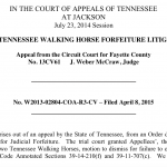 TENNESSEE COURT OF APPEALS DENIES BEVERLY AND KELLY SHERMAN EFFORT TO OBTAIN POSSESSION OF THEIR TWO SORED ABUSED TENNESSEE WALKING HORSES SEIZED IN RAID OF JACKIE MCCONNELL'S BARN IN FAYETTE COUNTY, TENNESSEE