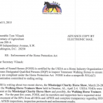 "FOSH (FRIENDS OF SOUND HORSES) WRITES SECRETARY OF AGRICULTURE TOM VILSACK URGING USDA APHIS TO PREPARE AND PUBLISH ""USDA HORSE PROTECTION ACTIVITY REPORT FOR THE ""MISSISSIPPI CHARITY HORSE SHOW"" AND THE ""NATIONAL WALKING HORSE TRAINERS SHOW"" AS SOON AS POSSIBLE"