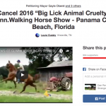 2016 CITIZENS CAMPAIGN AGAINST BIG LICK ANIMAL CRUELTY LAUNCHES CHANGE.ORG PETITION ASKING PANAMA CITY BEACH TO CANCEL AND BAN CRUEL BIG LICK TRAINERS HORSE SHOW